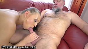 Naughty Grandpa Pleasured to Cum by..