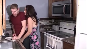 Mature MILF with young man in bedroom -..