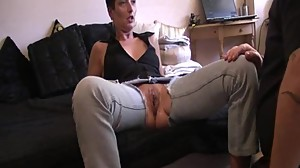 Brutally fisting the wifes huge greedy..