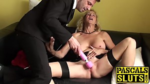 Horny british mature Molly masturbates..