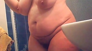 mature with big tits, curvy belly, big..