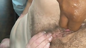KAY AND I STROKING HER FAT HAIRY PUSSY