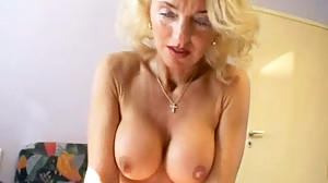 Busty Blonde Granny Gets Her Hairy Pussy..