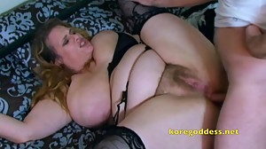 Busty wife with hairy pussy takes it up..