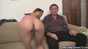 Hot girl seduces old not dad into pussy..