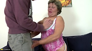 Real granny takes young boy's cock..