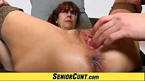 Hairy old pussy of grandma Lada on..