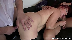 Business lady spreds her old pussy for 2..