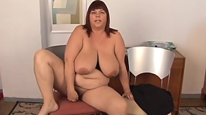 Huge boobs old spunker plays with her..
