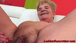Hairypussy lesbian mature pleasured by..