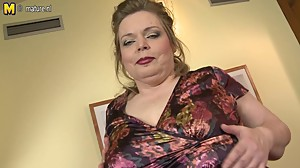 Big breasted mature mom playing with her..