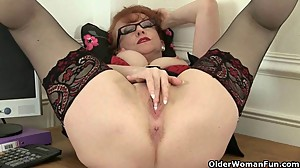 British milf Red works her sweet matured..