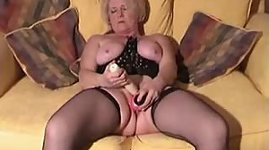 Blonde mature with toys and cock in her..