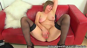 UK milf April's finger can barely enter..