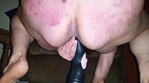 Fat Hairy Mom Humps Gigantic Dildo