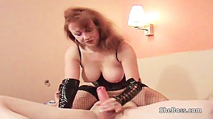 Older redhead spreads pussy lips and..