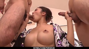 Reiko Kobayakawa delights with two men..