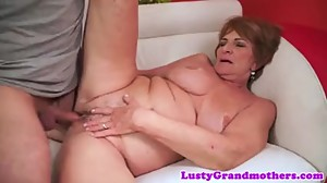 Saggy grandma jizzed on pussy after..