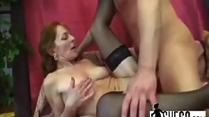 Slutty redhead granny Ivet gets her..