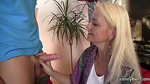 Blonde granny takes his horny cock from..