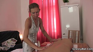 Granny masseuse loves sucking and riding..