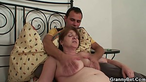 Injured granny takes his horny cock