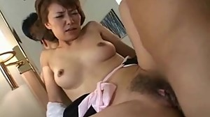 Japanese milf has hairy pussy licked and..