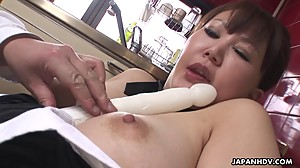 Chubby Japanese MILF moans while her..