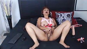 Horny MILF with dildo in pussy on webcam
