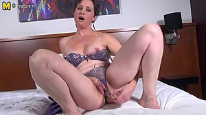 Horny mature slut mom playing with her..