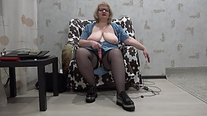 mature busty lady anal double..